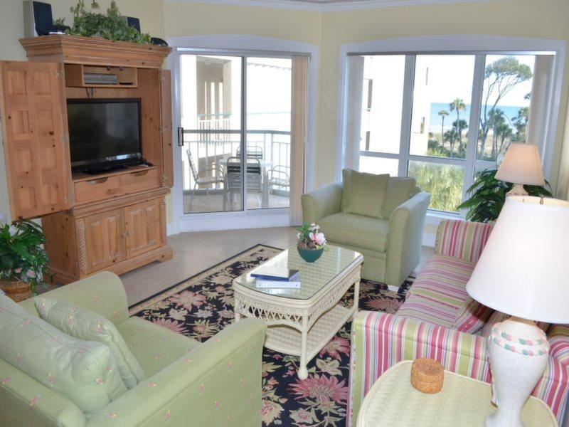 Living Room with Ocean Views at 3303 Windsor Court South - 3303 Windsor Court South - Palmetto Dunes - rentals