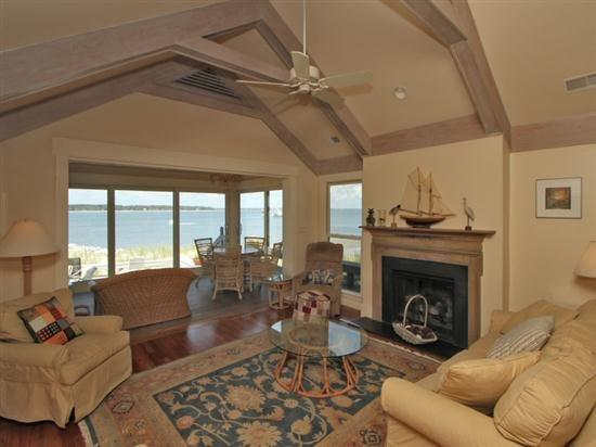 Living Room and Sun Room with Water Views at 49 Lands End Road - 49 Lands End Road - Sea Pines - rentals