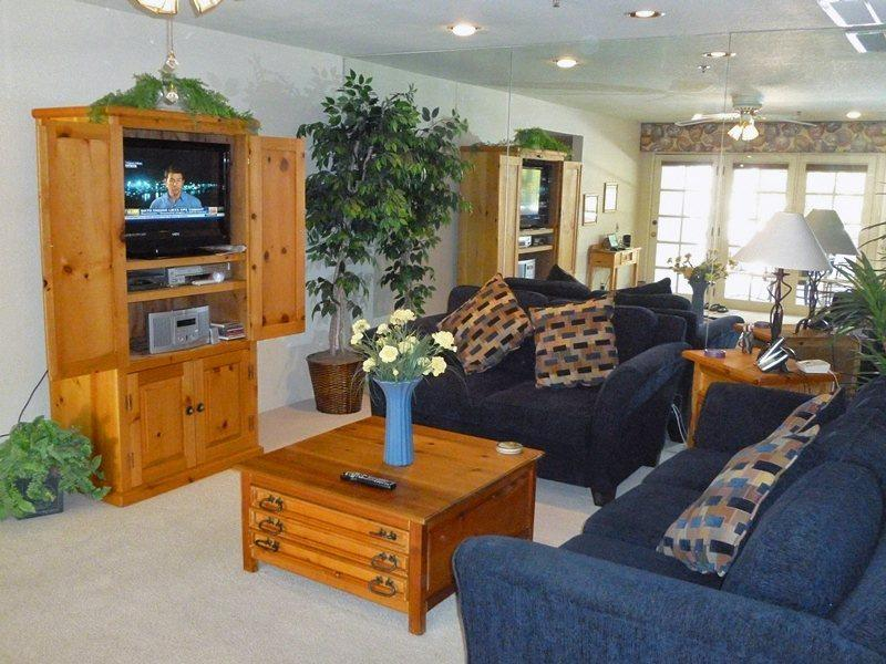Living Room Entertainment Center - Deauville Two Bedroom #524 - Palm Springs - rentals
