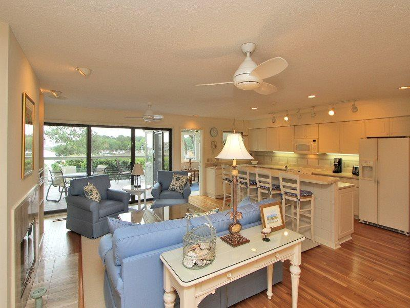 Open Living Area with Water Views at 5 Braddock Cove Club - 5 Braddock Cove Club - Sea Pines - rentals