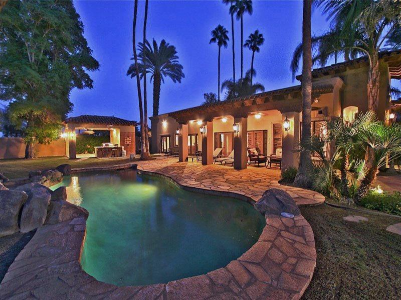 Back of Home  Pool at Night   - Tuscany Fairway Estate - Cathedral City - rentals