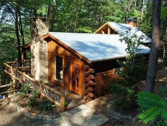 LITTLE BEAR- 2BR/1BA- CABIN WITH A MOUNTAIN VIEW SLEEPS 4, OUTDOOR FIREPLACE WITH PARTY DECK, FLAT SCREEN TV INSIDE AND OUT, OUTDOOR WET BAR, SECLUDED, HOT TUB, GAS GRILL, WIFI! ONLY $135 A NIGHT! - Image 1 - Blue Ridge - rentals