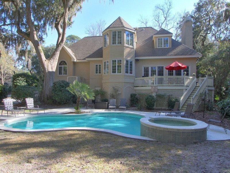 Backyard and Pool at 9 Hunt Club - 9 Hunt Club - Palmetto Dunes - rentals