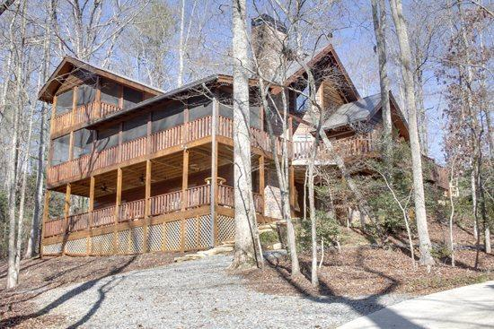 LOWER VIEW OF CABIN - BEAR CREEK CROSSING- 4BR(PLUS LOFT)/4.5BA- SLEEPS 14, CREEK SIDE, SECLUDED, VOLLEYBALL COURT, HORSESHOE PIT, HOT TUB, OUTDOOR FIRE-PIT, WIFI, GAS AND WOOD BURNING FIREPLACES! ONLY $350 A NIGHT! - Blue Ridge - rentals