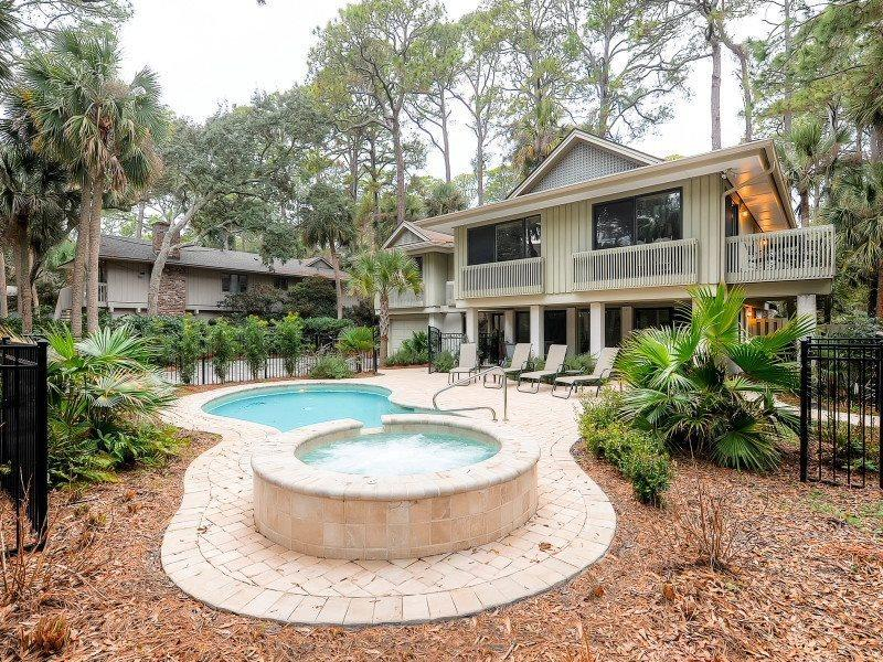 Pool and Spa at 13 Spotted Sandpiper - 13 Spotted Sandpiper - Sea Pines - rentals