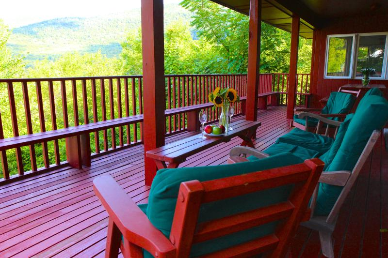HUGE covered deck with BBQ and stunning mountain views. It feels like a treehouse! - Pool, Tennis, views, ideal for Vermont Horse Show - Manchester - rentals