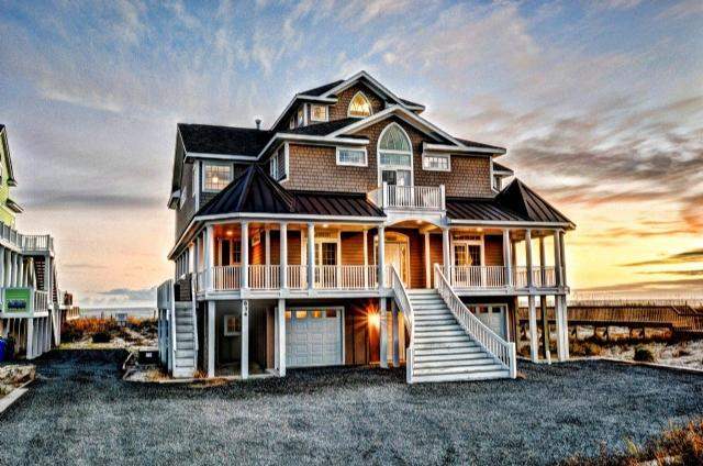 Twilight Shot - Hampton Colony 634 Oceanfront! | Community Pool, Hot Tub, Elevator, Internet, Game Equipment - North Topsail Beach - rentals