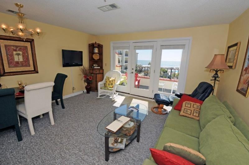 Living Room - Villa Capriani 202-B Oceanfront | 3 Pools, Largest Pool on NC coast, 2 Hot Tubs, Grill Area, Tennis Courts, Restaurant, Internet - North Topsail Beach - rentals