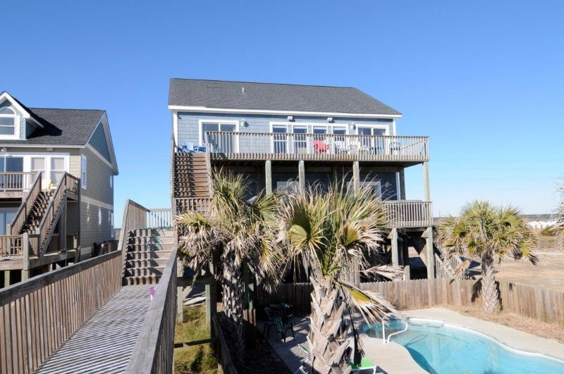 View From Beach Access - Island Drive 3892 Oceanfront! | Private Heated Pool, Hot Tub, Jacuzzi, Internet - North Topsail Beach - rentals