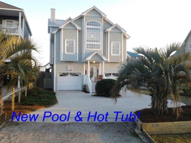New pool and Hot Tub - Island Drive 4386 Oceanfront-B Lot! | Jacuzzi, Fireplace, Internet - North Topsail Beach - rentals