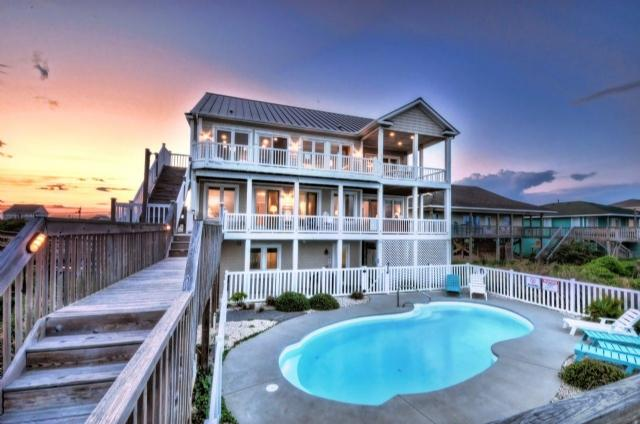 Twilight Shot - N. Shore Dr. 502 Oceanfront! | Private Heated Pool, Hot Tub, Elevator, Internet, Jacuzzi, Fireplace, Game Equipment - Surf City - rentals