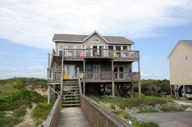 View of House From Beach - Island Drive 4472 Oceanfront-B Lot! | Internet, Hot Tub, Pet Friendly - North Topsail Beach - rentals