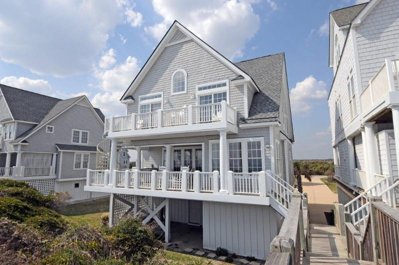 Beach View of House - Island Drive 4366 Oceanfront! | Internet, Community Pool, Hot Tub, Jacuzzi, Fireplace, Ping Pong Table - North Topsail Beach - rentals