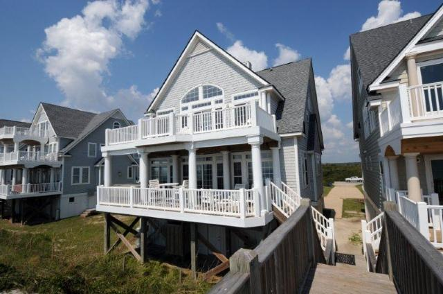 View of House From Beach - Island Drive 4256 Oceanfront! | Internet, Community Pool, Hot Tub, Jacuzzi, Fireplace - North Topsail Beach - rentals
