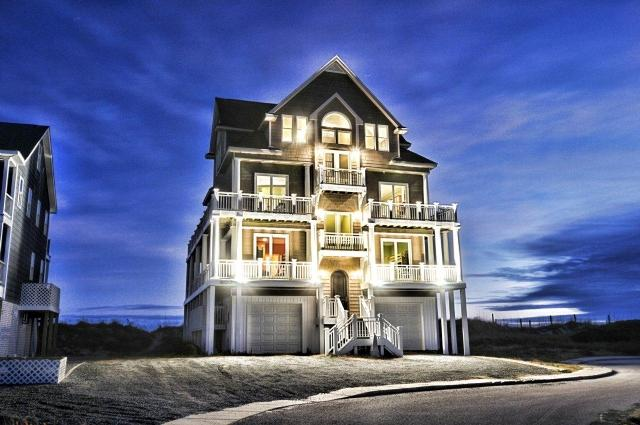 Twilight Shot - Hampton Colony 602 Oceanfront! | Community Pool, Hot Tub, Elevator, Internet, Jacuzzi, Fireplace - North Topsail Beach - rentals