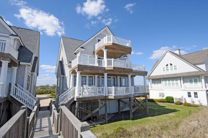 Beach View of House - Island Drive 4298 Oceanfront! | Internet, Community Pool, Hot Tub, Elevator, Jacuzzi, Fireplace - North Topsail Beach - rentals