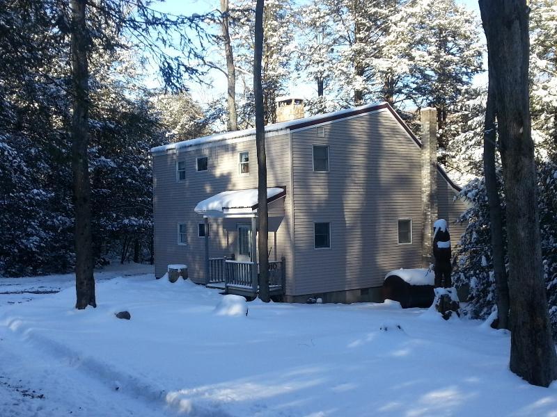 exterior winter high rez - Hemlock Haven is tucked in evergreens, Lake Access - McHenry - rentals