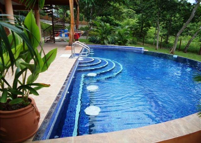 Big Pool Area with garden and ocean view - Villa Russe - Two BR's Ocean View, Exquisite Gardens, Playground - Playa Hermosa - rentals