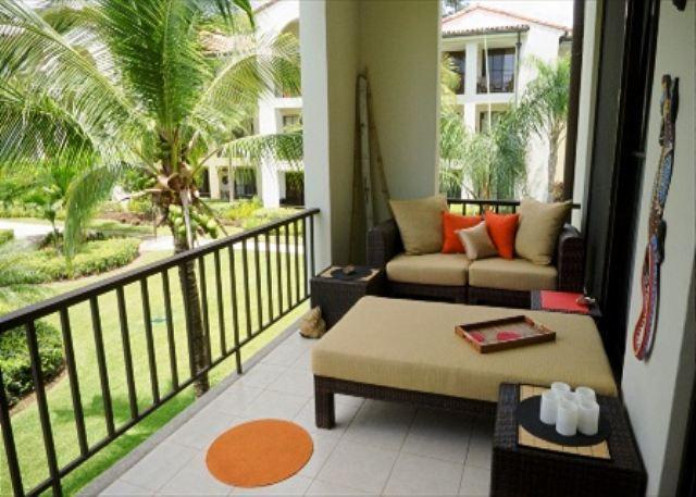 Big Balcony with lounge area - Pacifico L1109- Super-Stylish, 2 BR, 2 bath, 2nd Floor Pool View Condo - Playas del Coco - rentals