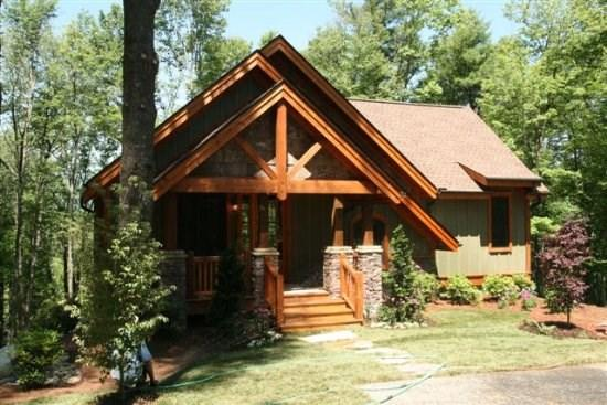 Rustic exterior with poplar bark, cedar and shakes - 42 Bearfoot Lane - Highlands - rentals