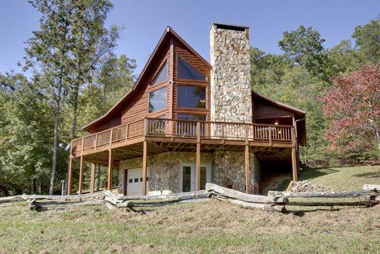 LOWER VIEW OF CABIN - BEAVER`S MOUNTAIN ESCAPE- 2BR/2BA- MOUNTAIN VIEW CABIN THAT SLEEPS 8, GAS GRILL, FIRE PIT, WIFI, PET FRIENDLY! ONLY $125 A NIGHT! - Blue Ridge - rentals