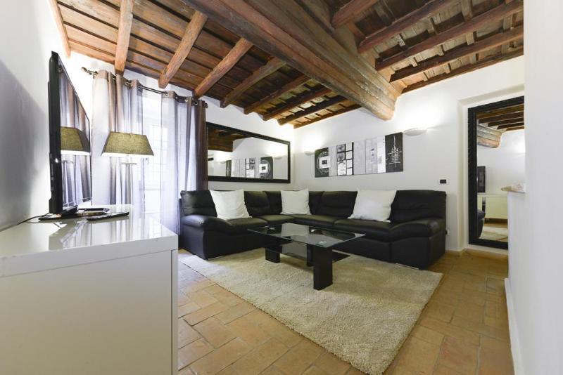 Living room with convertible sofa (sleeps 2) - Luxury 2Bdrs 2Bths Historical Center (Ibernesi 2) - Rome - rentals