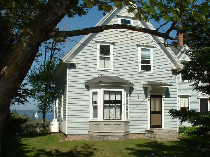 Cable Crossing Cottage, view from Seawall Rd. - Comfortable, Modernized Farmhouse w/ Ocean Vistas - Southwest Harbor - rentals