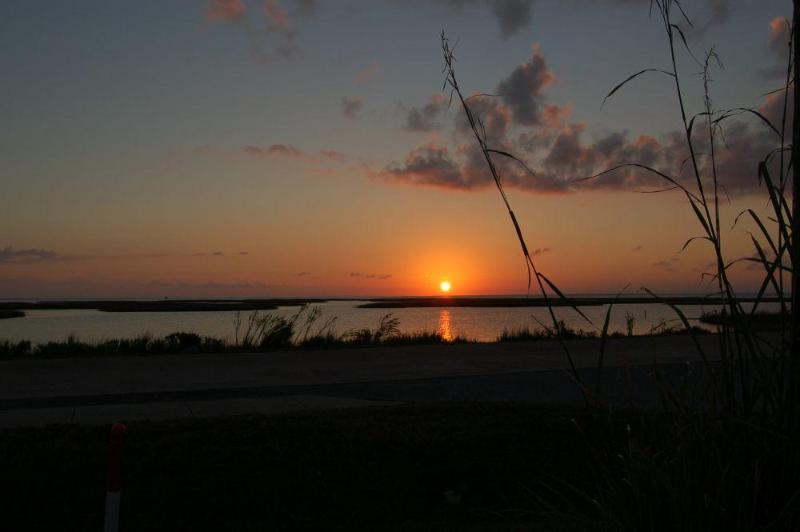 Sunset View from house - Sunset Nest -  Panoramic Views of Wetlands and Bay - Galveston - rentals