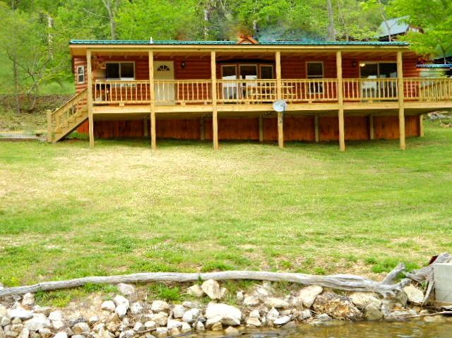 Front of LakeSide cottage facing water ( picture taken from boat). - lakefront, boatslip, canoe, wifi, click here2 book - Butler - rentals