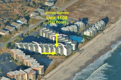 Aerial photo showing location of unit - Shipwatch 1108 - North Topsail Beach - rentals