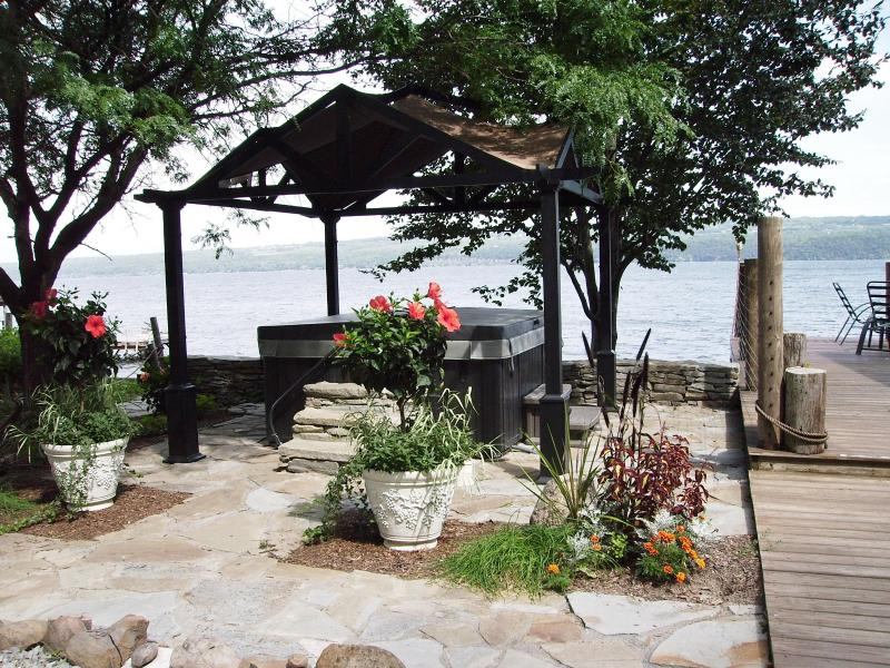 ~Pergola covered, lakeside 6 person HOT TUB on a flagstone patio! (and ROBES, of course!) - SOLD OUT for 2015!!  Nautical Nights ON water!! - Dundee - rentals
