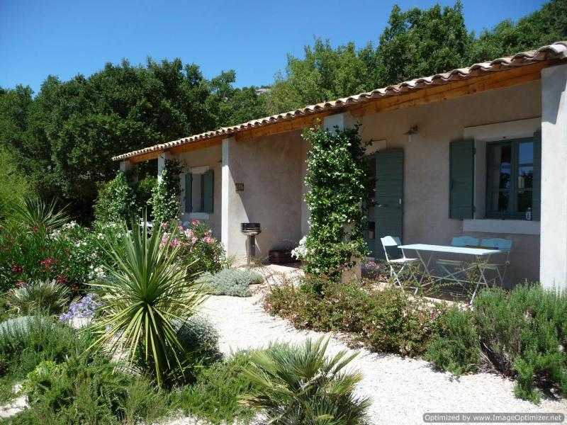 "Les Cerisiers is the nearest cottage with its private terrace - Fabulous 1 Bedroom Cottage with a ""Zen"" Pool, View of Luberon, WiFi - Luberon - rentals"