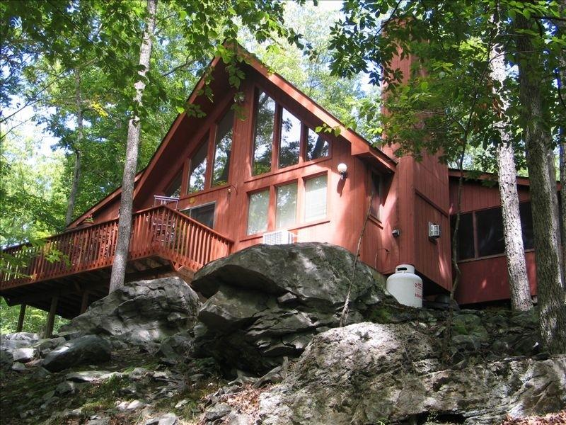 Back View of House from Creek - Beautiful Country Home with Waterfall and Hot Tub! - Bushkill - rentals