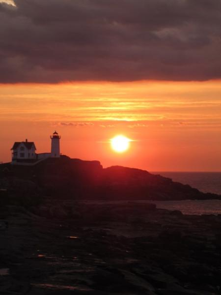 Dawn view from the deck by our guest Barb Koski - Stunning Nubble Lighthouse  and ocean views! - York - rentals