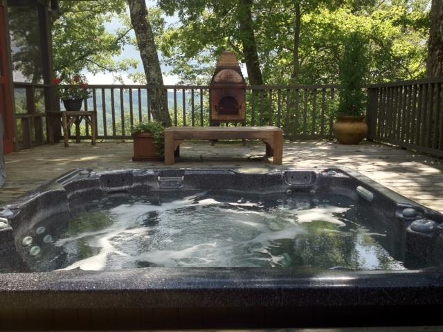 Soak up the mountain views from the Hot Tub. - Breezy Hill House - Brevard - rentals