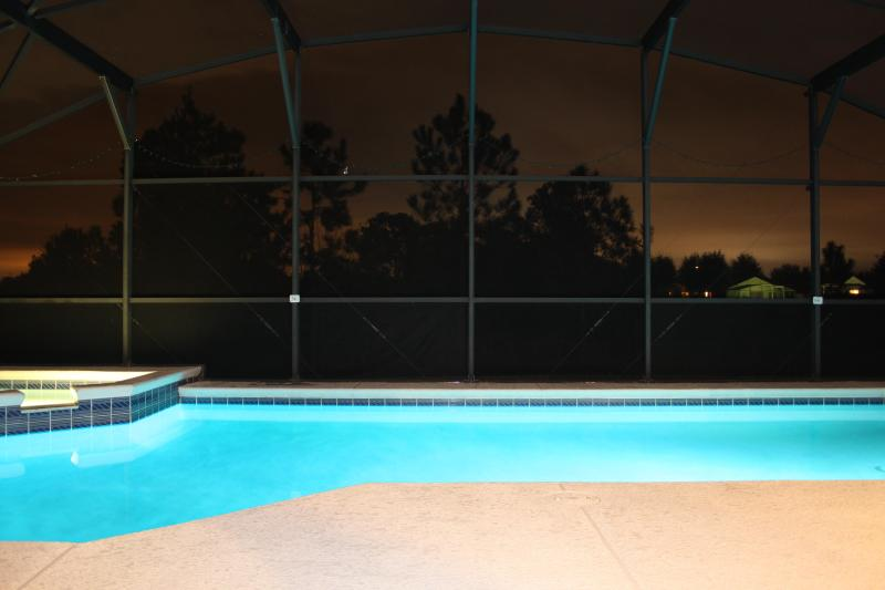 The pool by night - Rainbows End - Florida Villa - Private Pool & Spa - Clermont - rentals