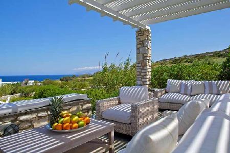Modern stone façade villa Zefyros with lush sea view, helipad & beach access - Image 1 - Ampelas - rentals