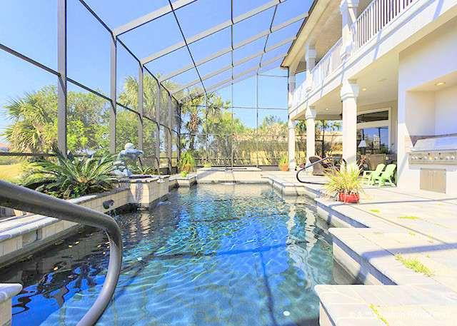 Screened lanai with heated spa, pool, & summer kitchen. - Seaduction Home, with Private Pool, HDTVs, Wifi - Palm Coast - rentals
