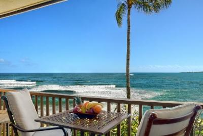 Sit on your private lanai and watch the waves  - Wailua Bay View Ocean Front Condos - Kauai - Kapaa - rentals