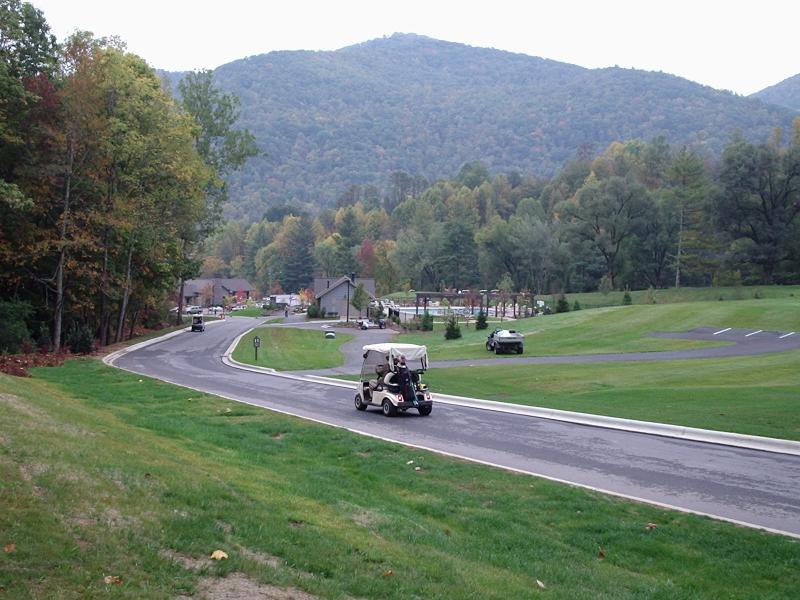 view from your terrace -pool and clubhouse - 5 minutes walk! - Luxury Condo - Maggie Valley Golf Club & Resort - Maggie Valley - rentals