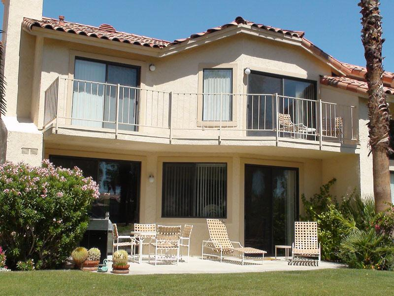 The patio and balcony.  Bedrooms Upstairs - South Facing Lake & Mountain Views inPGA West - La Quinta - rentals