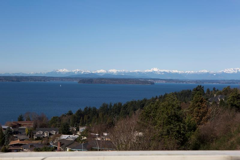 Gorgeous view of the Puget Sound, Olympics and Ferry from the large, expansive back view deck - West Seattle Private, Quiet Home w/Dazzling View - Seattle - rentals