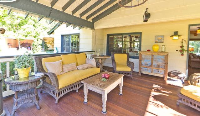 Front patio with mahogany deck - The Apple House and Guest Cottage in the Arbolada - Ojai - rentals