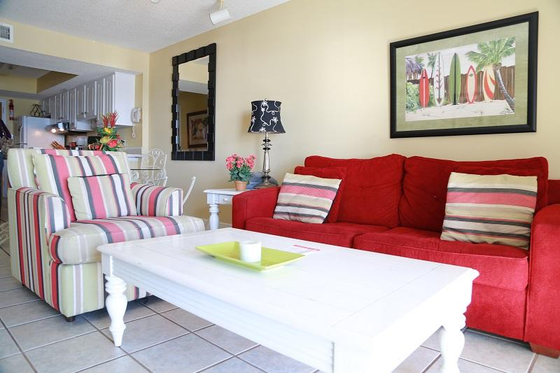 Living Area - Surfside Shores 1306 - Gulf Front - Gulf Shores - rentals