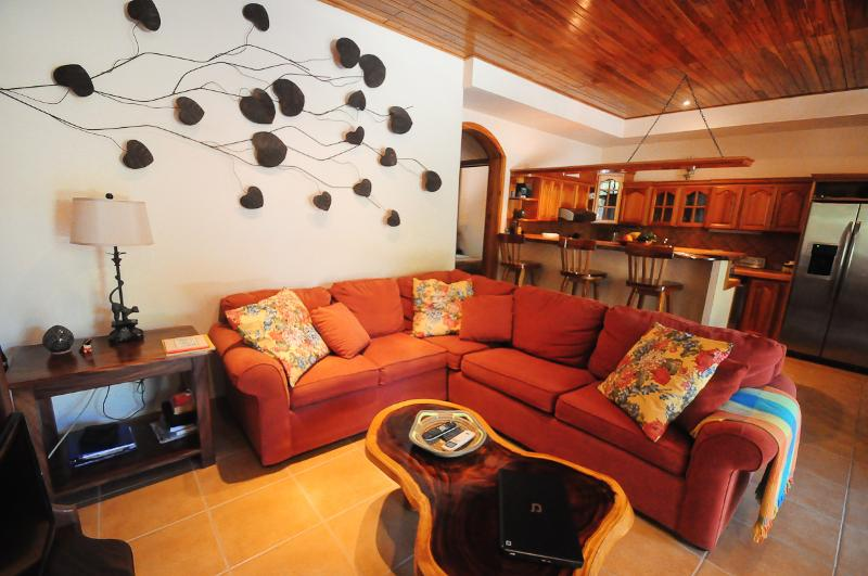 Condo Tortuga's living room, dining & kitchen areas w/10' teak ceiling - Condo Tortuga - Nosara - rentals