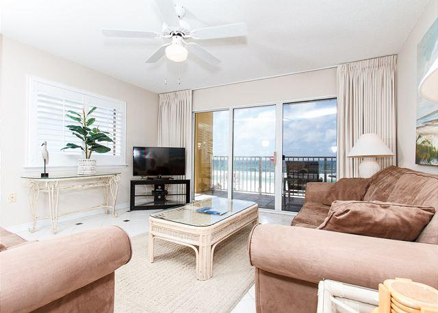 Awesome views from the beach front living room - GD 301: Updated 3 BR,FREE BEACH SERVICE,flat screen TVS, WIFI, AMAZING VIEWS - Fort Walton Beach - rentals