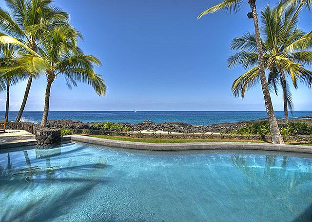 Looking across the private pool - Beautiful Oceanfront Home in Gated Kona Bay Estates Community, Blue Water #34-PHKBE34 - Kailua-Kona - rentals