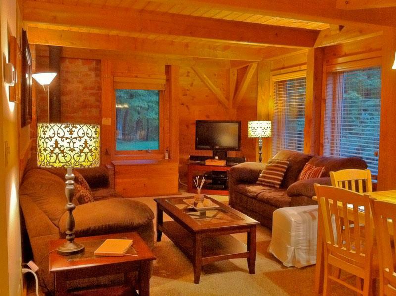 Cozy living room of the right side unit. - The Cabin at Killington: Right Unit - Killington - rentals