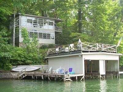 View of house from the lake - Quite Cove - Great Views and Great Swimming - Lake Lure - rentals