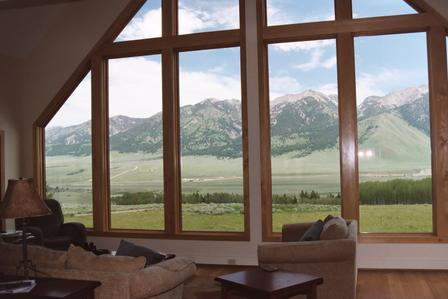 Great room view of 12,000 ft Madison Range - Windows with a View - Cameron - rentals